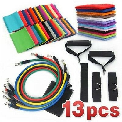 NEW 13pc Fitness Workout Exercise Set - Resistance Tubes / Yoga Bands / Straps