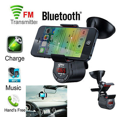 Car Kit Bluetooth FM Transmitter MP3 Player Handsfree Charger phone Mount Holder