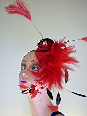 Large Sinamay Fascinator Hat Black And Red Feathers Wear Many Positions One Size