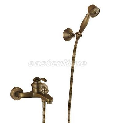 Antique Brass Wall Mounted Bathroom Tub Faucet Sink Mixer Tap Hand Shower Ers015