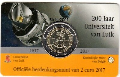 NEW !!! Coin Card 2 EURO COMMEMORATIVO BELGIO 2017 Università di Liegi (Olanda)