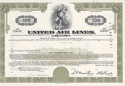United Air Lines Inc. 1973 $ 100,00 5% Subord.Debenture, grün