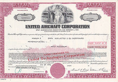 United Aircraft Corp. (United Technologies Corp.) 1976 purpur $ 10.000,00