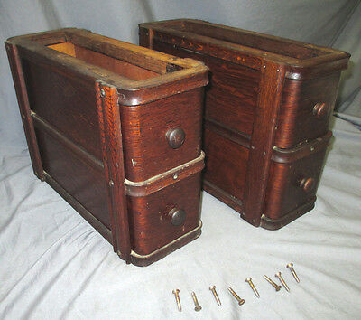 Pair Antique Oak Singer Treadle Sewing Machine Double Drawers 1916 66 Red Eye