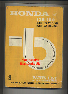 Honda 125 150 C92 C95 Benly (1959-1966) Parts List Catalogue Book CS CA C 92 95