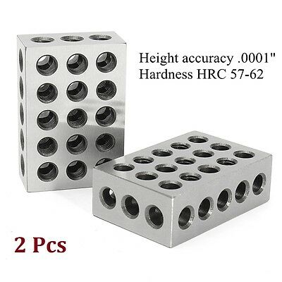 Matched Pair 123 1-2-3 Blocks Ultra Precision 0001'' Machinist Hardened 23 Holes