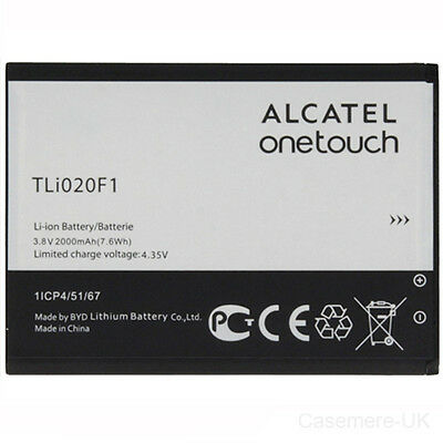 Alcatel TLi020F1 2000mAh Battery 3.8v For Alcatel One Touch OT-7040, 7040D, 7041