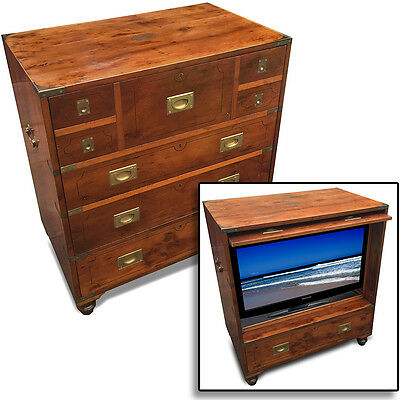 Vintage TV CABINET as a BRASS BOUND CAMPAIGN CHEST Antique Style Drawers Cherry