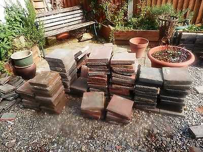 """Job lot of reclaimed Victorian quarry tiles/pamments. Mostly reds. 9"""" x 9""""."""