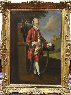 Fine 18th Century British Military Officer Full Length Portrait Oil Painting