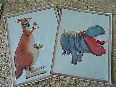 Vintage 1954 General Foods Corp Kangaroo & Hippo JELLO Color Poster
