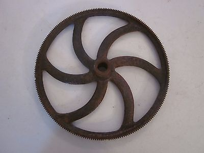 "Vintage Industrial Cast Iron Machine Wheel Gear 10 1/2"" Diameter"