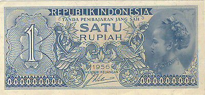 1956 1 One Satu Rupiah Indonesia Currency Banknote Note Money Bank Bill Cash