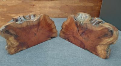Burl Wood Knot Matched Pair of Handcrafted Bookends