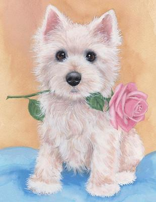 Dogs Westie Rose Limited Edition Art Print from Original Painting / Sue Barratt