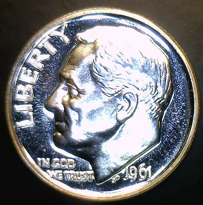 1961 Silver Proof Roosevelt Dime Ten-Cent Coin 10c from US Mint Proof Set