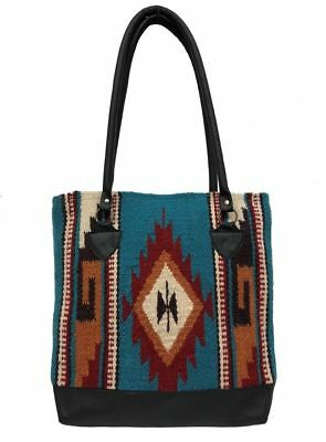 Ladies Tote Purse Handwoven Artisan Wool Genuine Leather Handles Southwest N