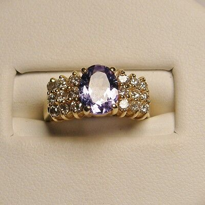 Tanzanite and Diamond Cocktail Ring Set in 14K Yellow Gold Natural
