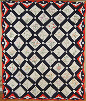 Large PATRIOTIC Vintage Red, White & Blue State Flower & Stars Antique Quilt!