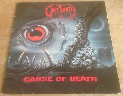 OBITUARY cause of death 1990 DUTCH ROADRACER DEATH METAL VINYL LP + INNER