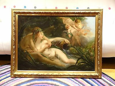 Large 18th Century French Old Master Nude River Gods Antique Oil Painting