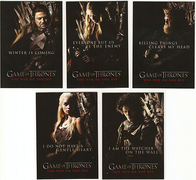 Game of Thrones Season 1 ~ YOU WIN OR YOU DIE 5-Card Insert Set (SP1-SP5)