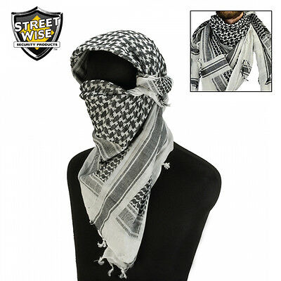 Streetwise Tactical Shemagh Black & White - Arab Scarf Army Military Headwear