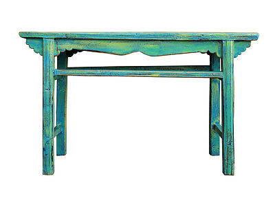 Chinese Rustic Rough Wood Distressed Blue Green Side Table cs2511