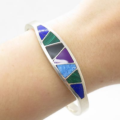 Vtg Mexico Sterling Silver Real Multicolor Gemstone Square Bangle Bracelet 7 1/4