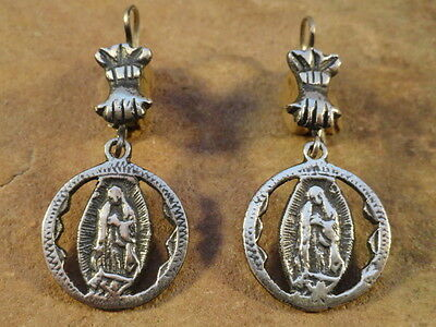 Mexican Mexico Sterling Silver Our Lady Of Guadalupe Earrings