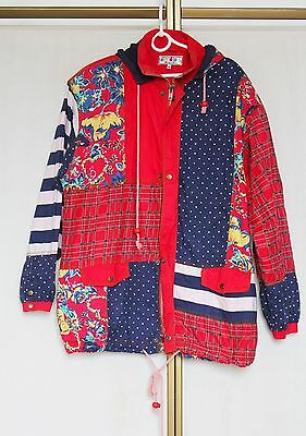 Vintage 80s Patchwork Tartan Country Print Cotton Hooded Jacket Coat M
