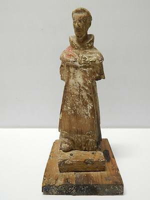 Old Mexico Antique Mexican Saint Santos Statue Wood Crvd Figure  - Exceptional