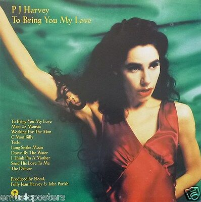 """PJ HARVEY """"TO BRING YOU MY LOVE"""" U.K. PROMO POSTER - Polly Jean In Red Outfit"""