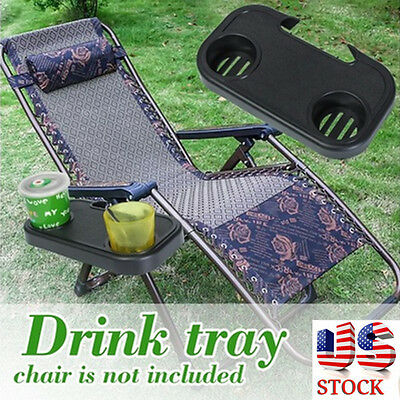 Portable Folding Camping Picnic Outdoor Beach Garden Chair Side Tray For Drink
