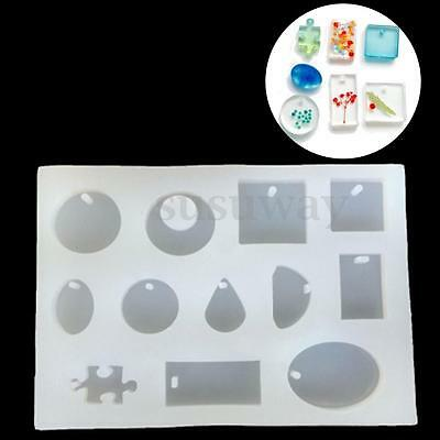 12 Patterns Transparent Mold Jewelry Silicone Mould Craft For DIY Resin Pendant