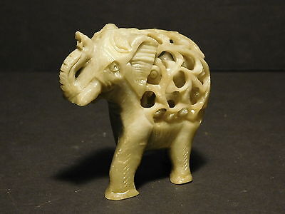 Antique Chinese Jade Elephant Carving with Baby Elephant Inside