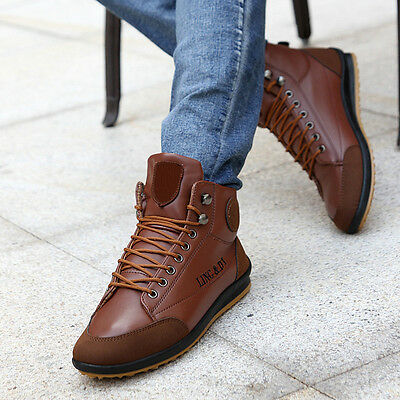 Winter Warm Men's Leather Waterproof-Light Boots High -Top Lace Up Casual Shoes