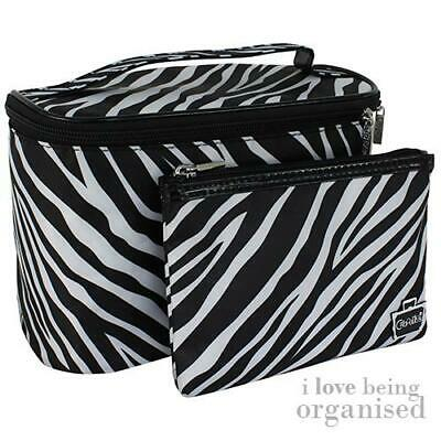 2 Piece Zebra Print Train Case & Makeup Bag Set Cosmetic Purse Travel Organiser