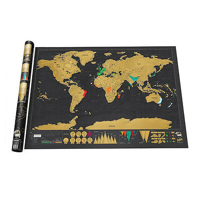 Top Deluxe Travel Edition Scratch Off World Map Poster Personalized Journal Log