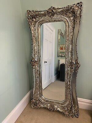 Large Extra Tall Antique Style Ont Silver Rococo Wall Hall Leaner Mirror
