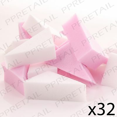 32Pc DISPOSABLE FOUNDATION APPLICATOR SPONGES Wedge Cosmetic/Beauty Make-Up Tool