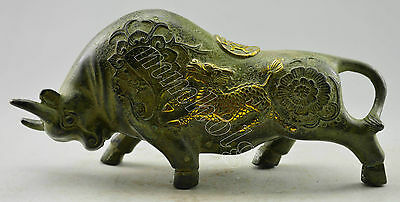 Collectible Decorated Old Handwork Bronze Carved Struggle Cattle Statue