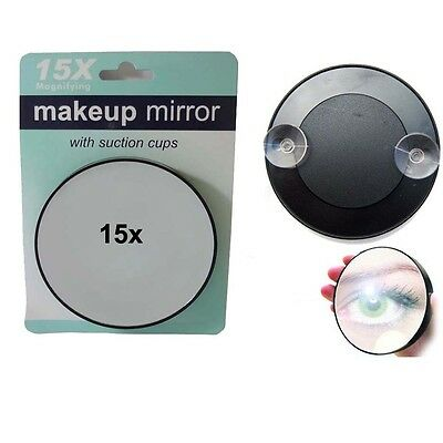 Compact 15x Magnifying Glass Makeup Cosmetic Mirror Tweezing Beauty Handbag Zoom