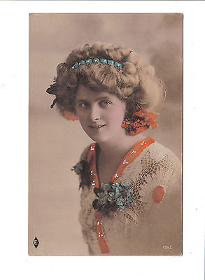 Vintage Postcard.Pretty girl,handtinted  brown toned study.1342