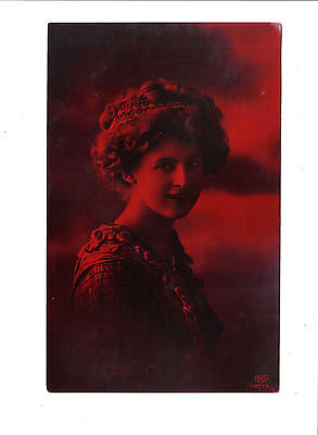 Vintage Red Tinted Postcard of pretty girl.Posted Apr.23,1914