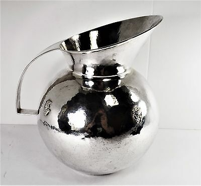 AM of Peru .900 Silver Pitcher - Very Large and Tall 8 1/2 - Monogram