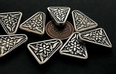 Vintage 17 x 20mm Silver Tone Metalized Plastic Floral Triangular Beads 8
