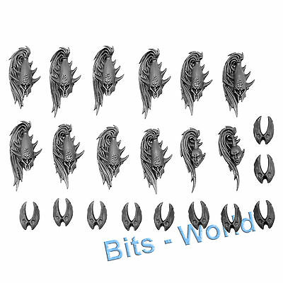 WARHAMMER BITS: DARK ELVES EXECUTIONERS/BLACK GUARD - BLACK GUARD HEADS 10x