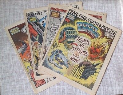 Vintage 2000AD Comics 4 Comics 1985, retro sci fi magazines comic strips collage