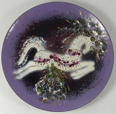 Fantastic, Colorful Enamel On Copper Plate W Jumping Horse By Sascha Brastoff